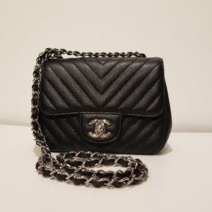 Chanel Quilted Chevron Black Caviar Mini Square